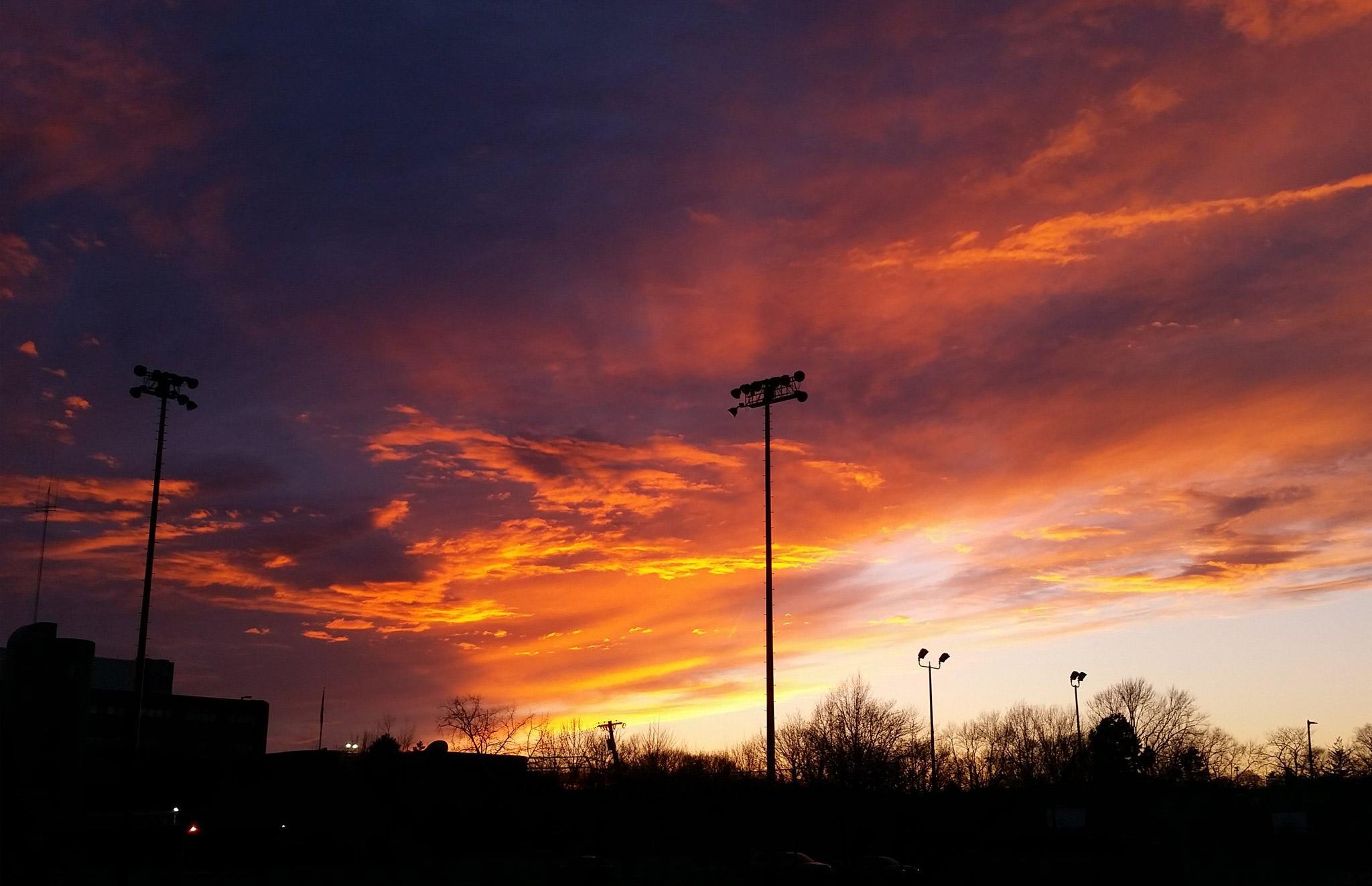 Sunset over English High School in Jamaica Plain
