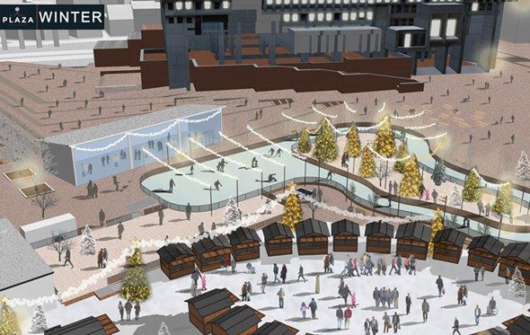 City Hall Plaza in winter