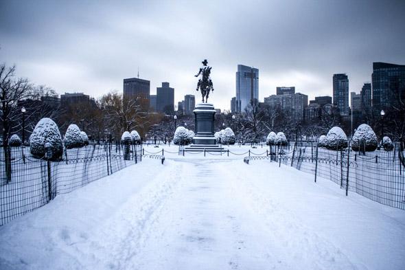 Snowy George Washington statue in Boston's Public Garden