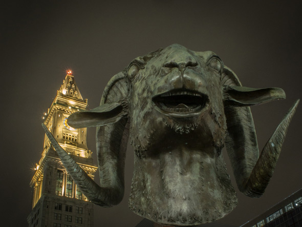 Goat head statue on the Greenway in Boston