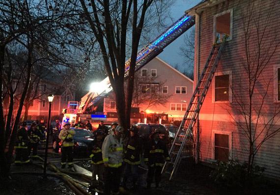 Fire scene on Harrison Street in Roslindale