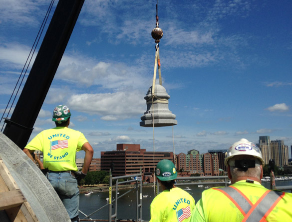 Last Longfellow Bridge tower back in place