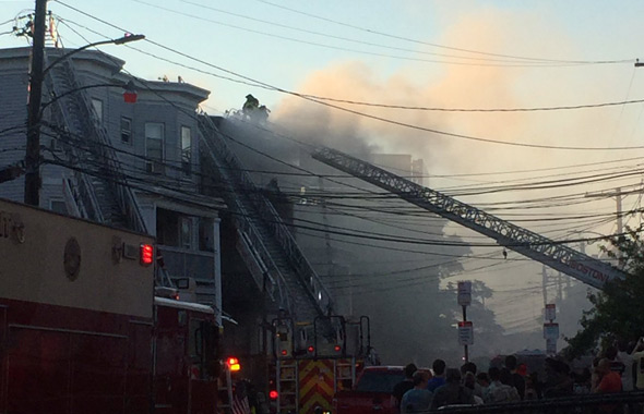 Fire on Linden Street in Allston