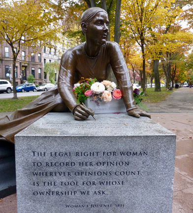 Lucy Stone statue on Commonwealth Avenue in the Back Bay