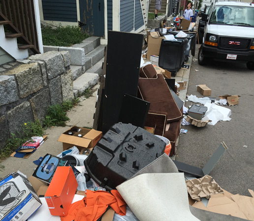 Mess on Hillside Street on Mission Hill