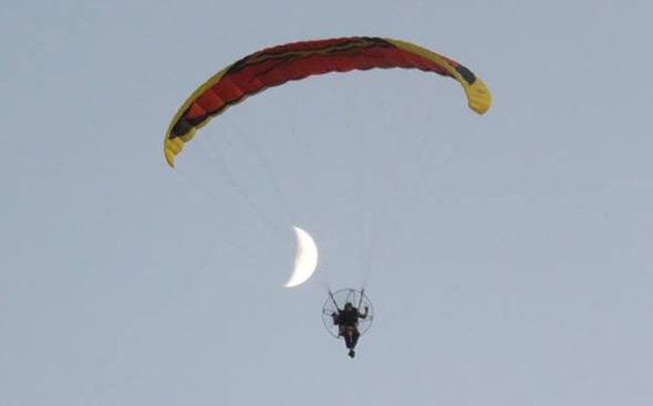 Guy flying around Millennium Park in West Roxbury