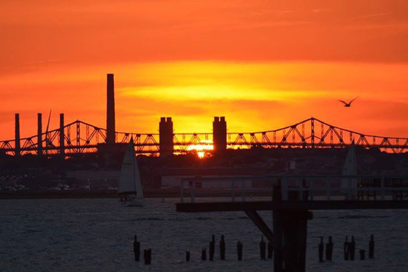 Sunset over the Tobin Bridge
