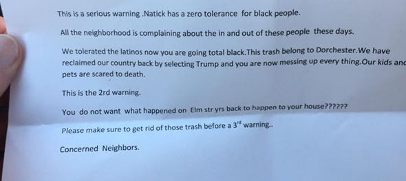 Threat letter in Natick