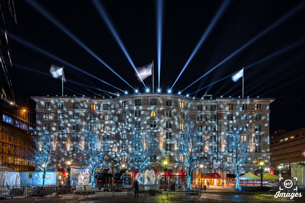 Copley Plaza Hotel lit up for New Year's Eve
