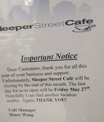 Sleeper Street Cafe closed forever