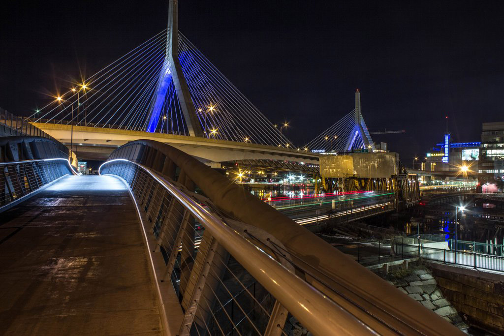 The Zakim Bridge from North Point Park in Cambridge