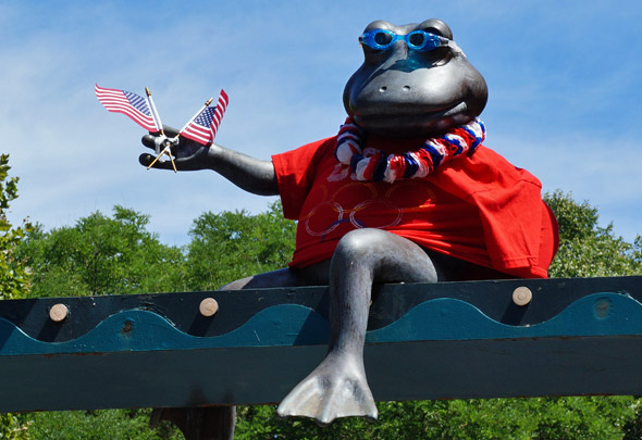 A frog rooting for the US Olympic team in Boston