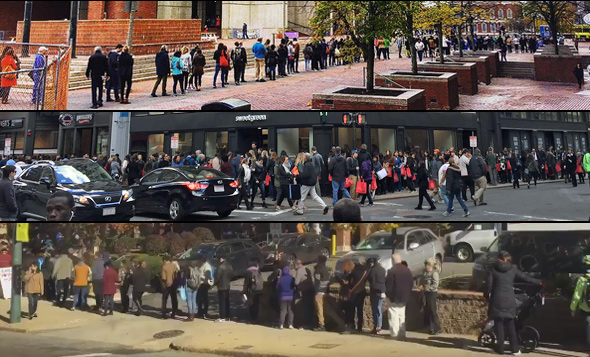 People standing in lines in Boston