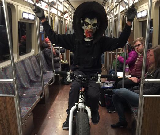 Halloween rider on the MBTA's Orange Line