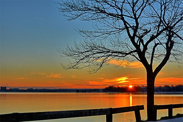 Sunset over Pleasure Bay, South Boston