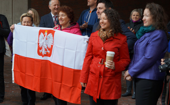 Polish flag outside Boston City Hall