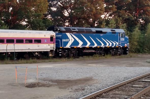 Unusual locomotive on the Fairmount Line at Readville
