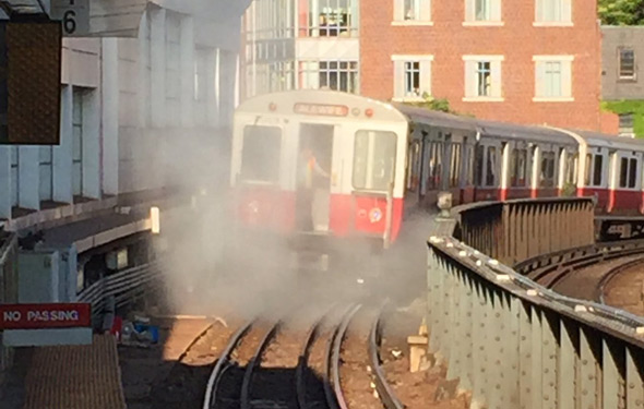 Smoke on the tracks at Charles/MGH on the Red Line