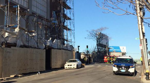 Crash into scaffolding in East Boston