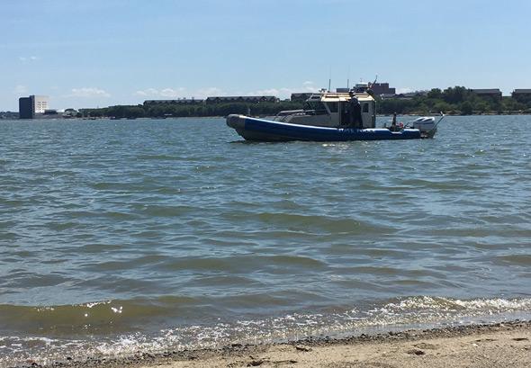 Search boat at Carson Beach