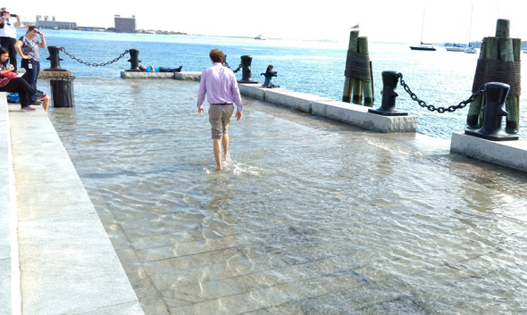 Long Wharf in Boston flooded by king tide