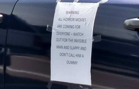 West Roxbury sign: Warning, all horror movies coming for everybody