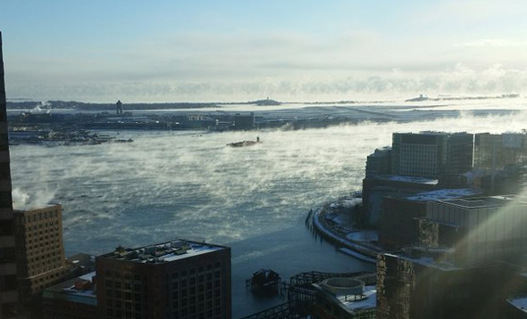 Sea smoke over Boston Harbor