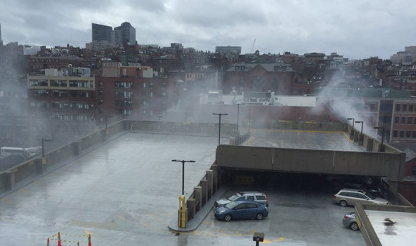 Smoke rising from Mass. General garage fire