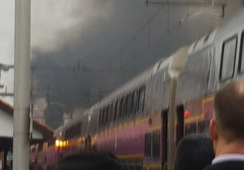 Smoke-belching train on the Providence Line in Attleboro