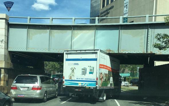 Stuck truck on Storrow Drive