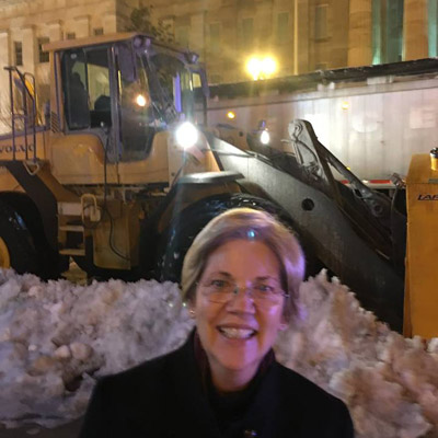 Sen. Warren with a Massachusetts snow plow