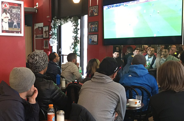 Soccer fans at Caffe dello Sport in Boston's North End