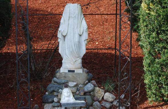 Decapitated religious statue in Burlington