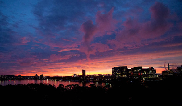 Red sunset over the Charles River