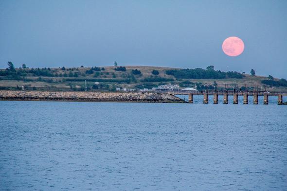 Strawberry moon over Pleasure Bay in South Boston