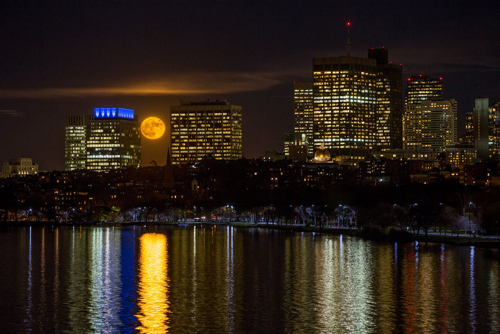 Supermoon over Boston