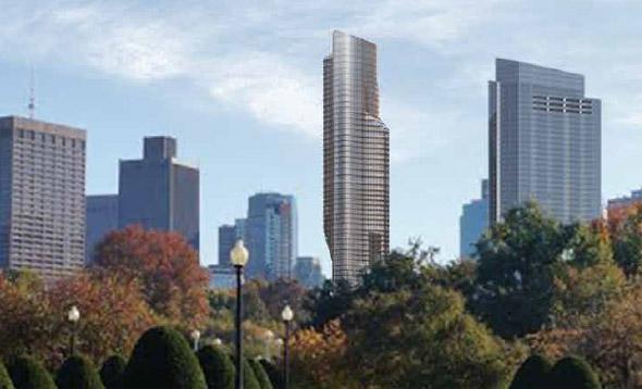 Swoopy skyscraper as seen from Boston's Public Garden