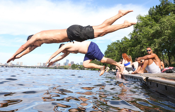 Jumping into the Charles River on Sunday