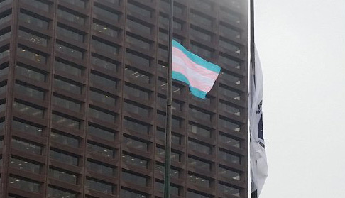 Flag in support of transgender rights at Boston City Hall