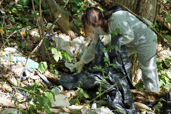 Cleaning up trash along the Neponset River on the Hyde Park/Mattapan line