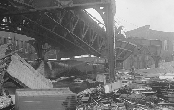 Twisted subway tracks after Great Molasses Flood of 1919