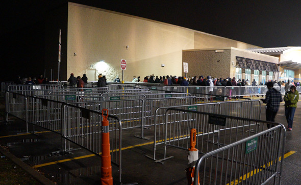 Empty lines outside Walpole Walmart