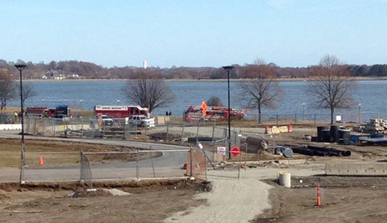 Scene where body in a car was found submerged in water