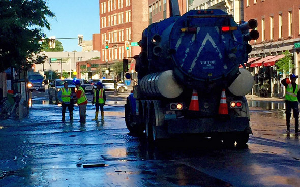 Water-main break on Washington Street in the South End