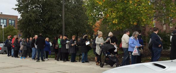 Line to vote in West Roxbury