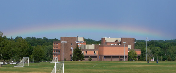 Rainbow over West Roxbury High School