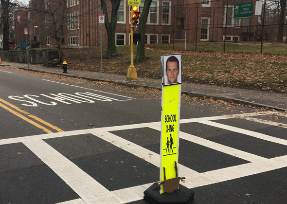 Tom Brady pedestrian-crossing sign
