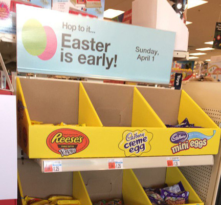 Easter display on Dec. 27 at CVS
