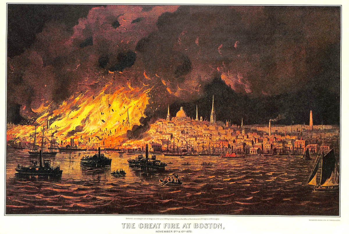 Poster showing the Great Fire of 1872
