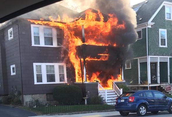 Fire on Newburg Street in Roslindale